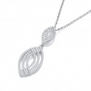 "J-Jaz Micro Pave' Fancy Cz Pendant with 18"" Chain"